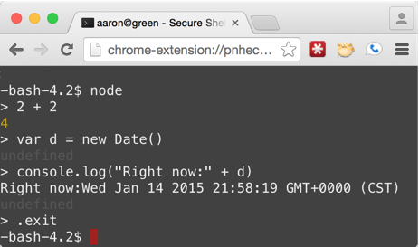 Testing out Node.js REPL