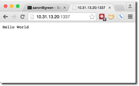 """Viewing 'Hello World"""" in a browser"""
