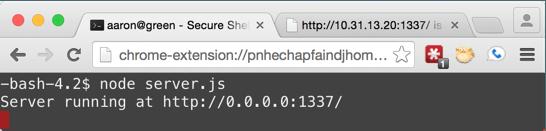 Starting the Node.js server