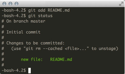 Using git add to track README.md
