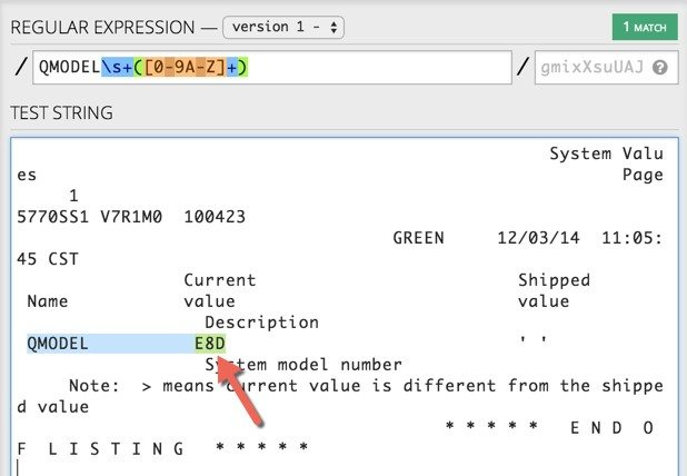 Regex expression selecting the QMODEL value.